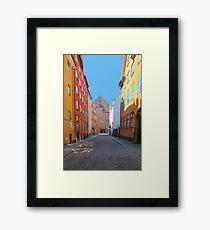 Magstraede - the oldest street in Copenhagen, Denmark Framed Print