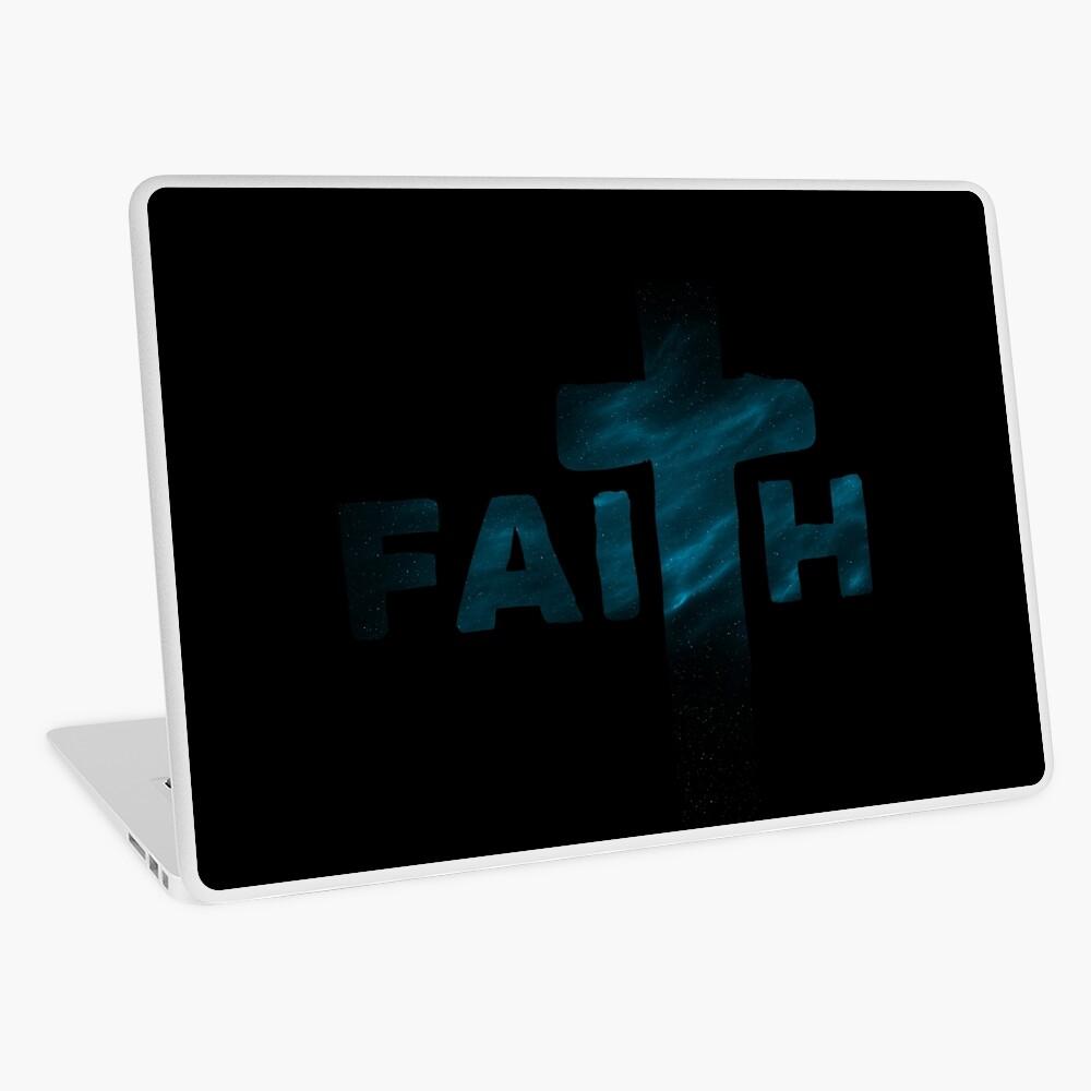 Faith | Space with Nebula Theme Laptop Folie