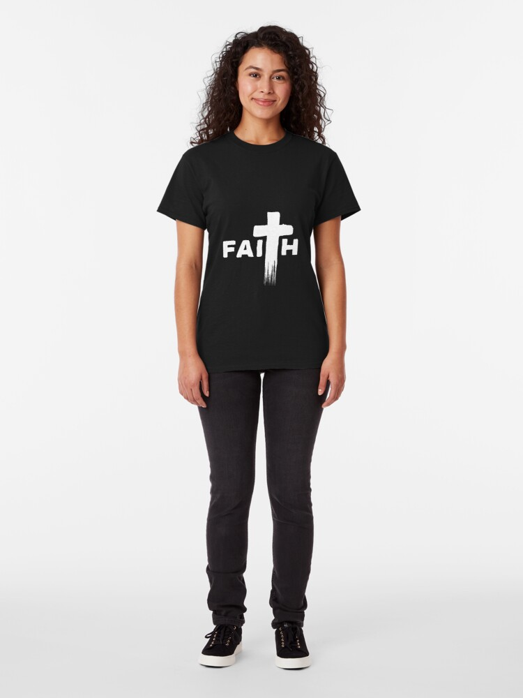 Alternative Ansicht von Faith   White Typography with Paint Streaks   Christian Gift Classic T-Shirt
