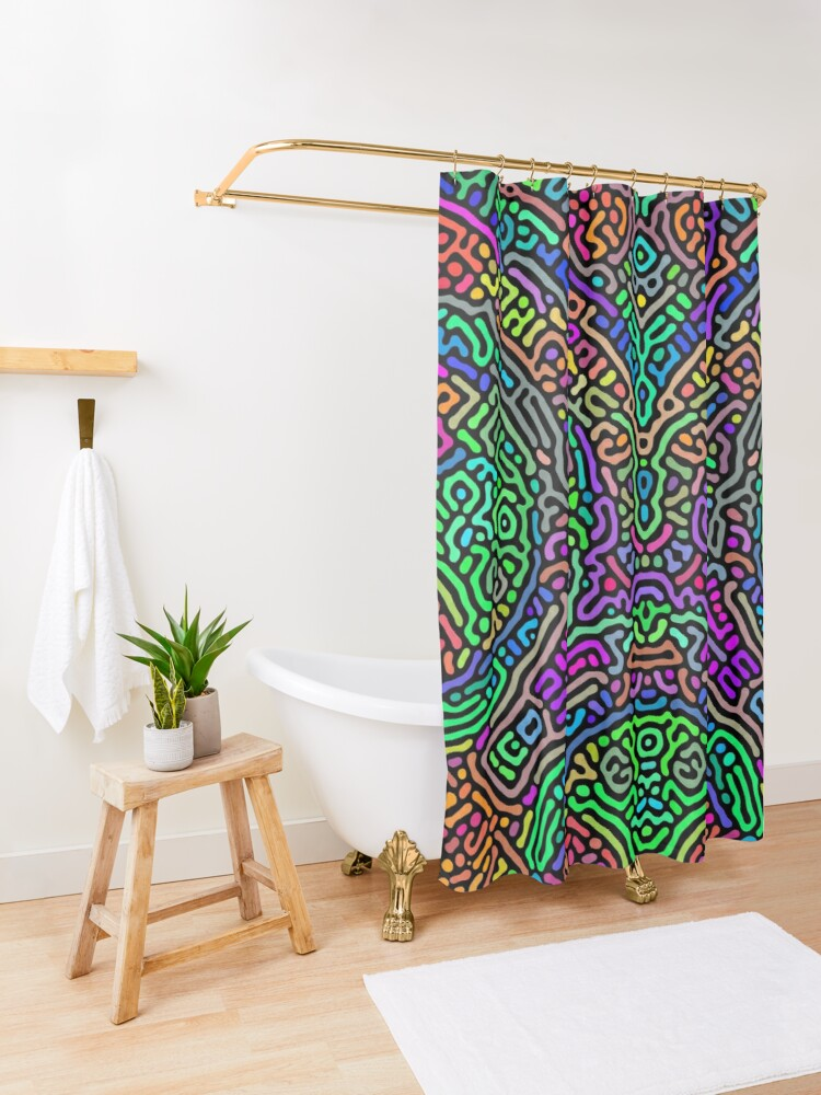 Alternate view of Freaky Stencil Shower Curtain