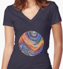 #Deepdreamed planet Fitted V-Neck T-Shirt