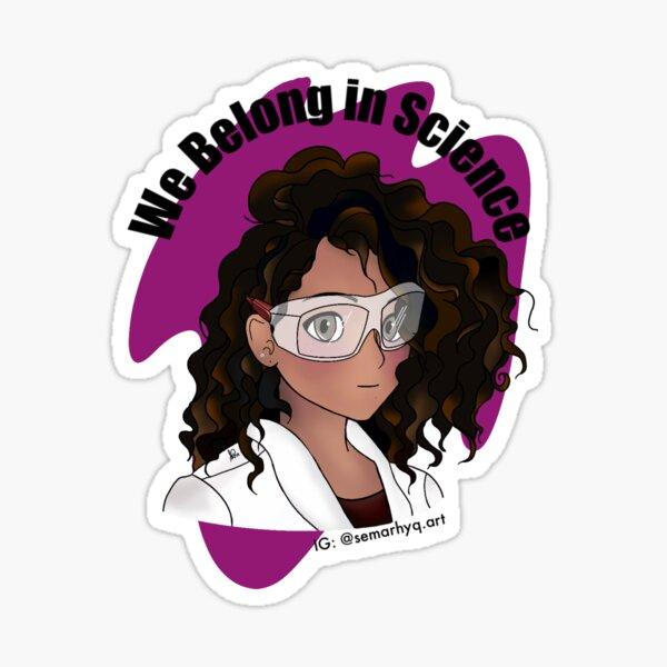 Curly Hair Scientist Sticker