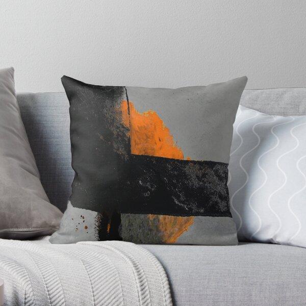 Minimal Orange on Black Throw Pillow