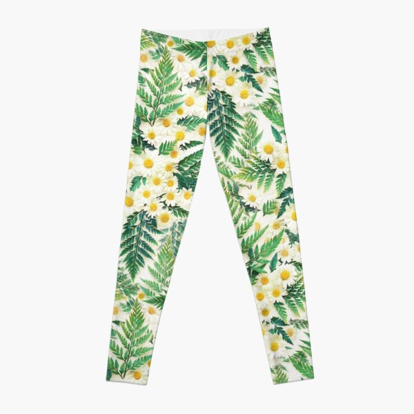 Textured Vintage Daisy and Fern Pattern Leggings
