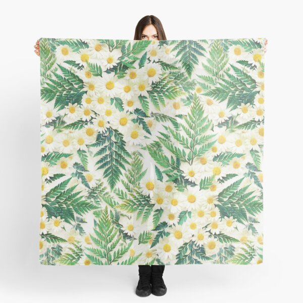 Textured Vintage Daisy and Fern Pattern Scarf