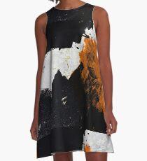 Minimal Orange auf Schwarz A-Linien Kleid