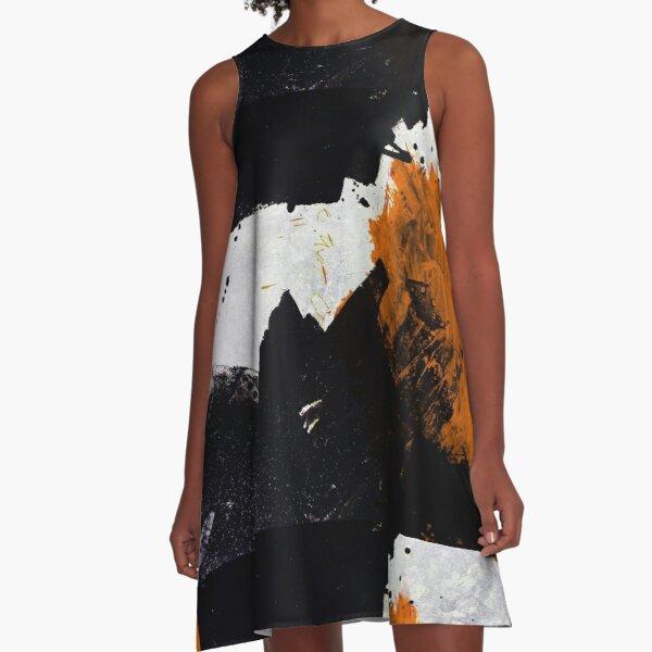 Minimal Orange on Black A-Line Dress