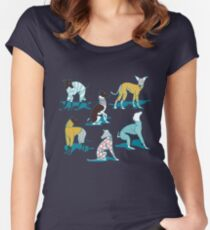 Greyhounds dogwalk // turquoise background Fitted Scoop T-Shirt