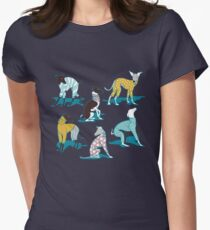 Greyhounds dogwalk // turquoise background Fitted T-Shirt