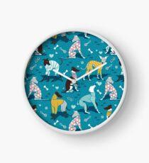 Greyhounds dogwalk // turquoise background Clock