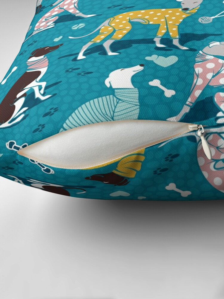 Alternate view of Greyhounds dogwalk // turquoise background Floor Pillow