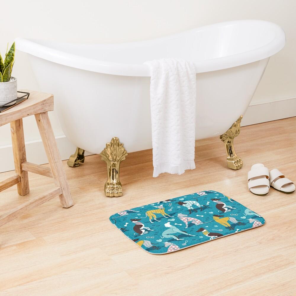 Greyhounds dogwalk // turquoise background Bath Mat