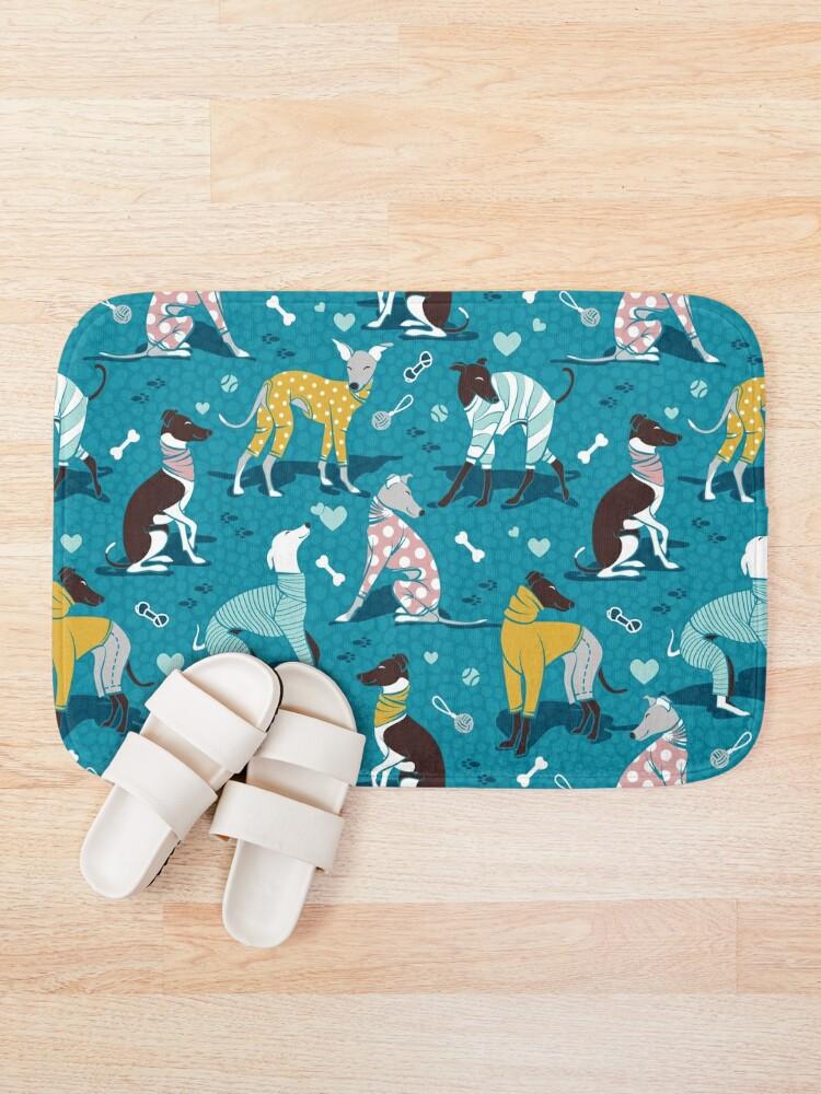 Alternate view of Greyhounds dogwalk // turquoise background Bath Mat