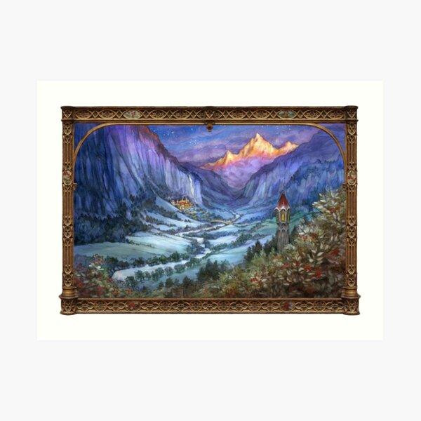 The Hidden Valley in Winter (with border) Art Print