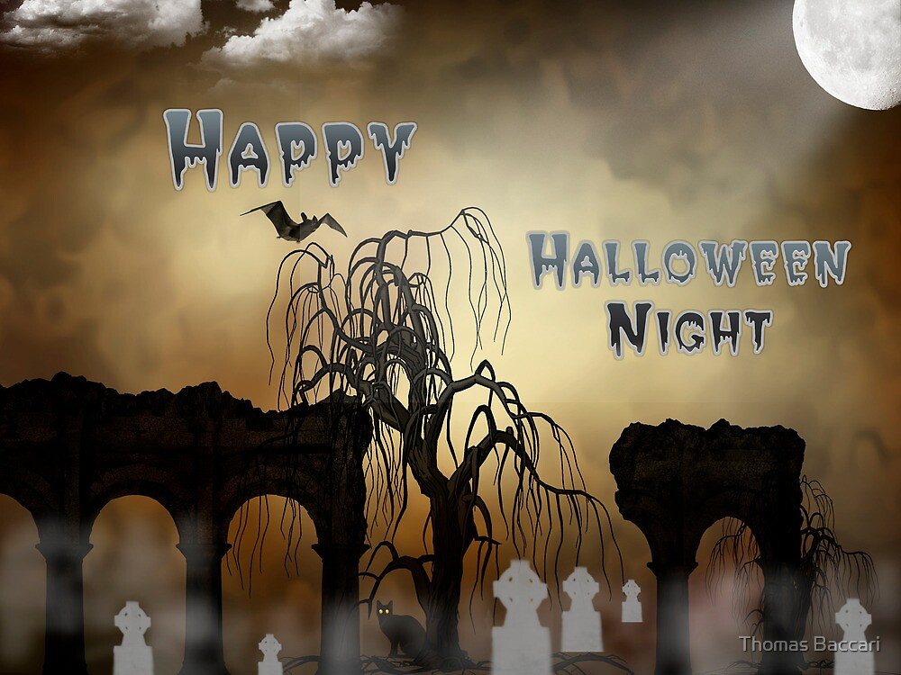 Happy Halloween Night Card by TJ Baccari Photography