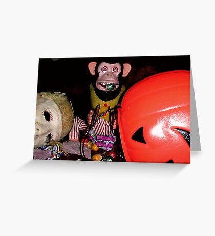 Musical Jolly Chimp Gorges on Candy Greeting Card