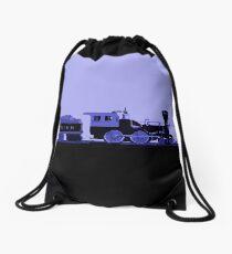 train blue Drawstring Bag