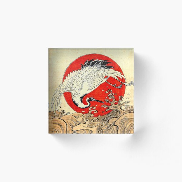 RED SUN ,FLYING CRANE AND SEA WAVES Japanese Painting Acrylic Block