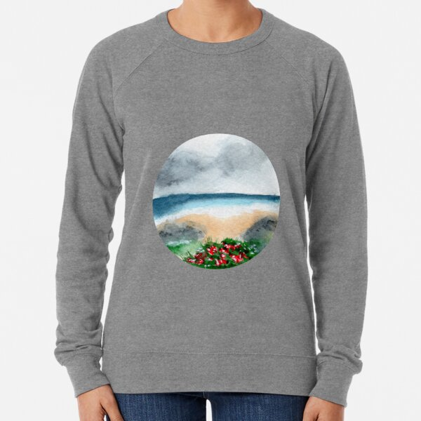 Somewhere between Ebb and Flow - Round - Watercolour Painting Lightweight Sweatshirt