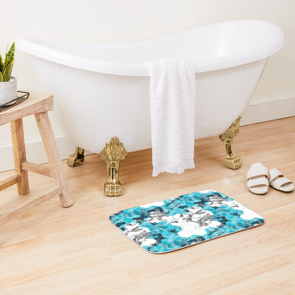 Geometric Camouflage Bath Mat