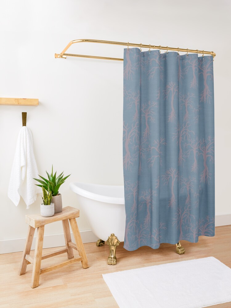 Alternate view of Subtle Winter Forest Shower Curtain