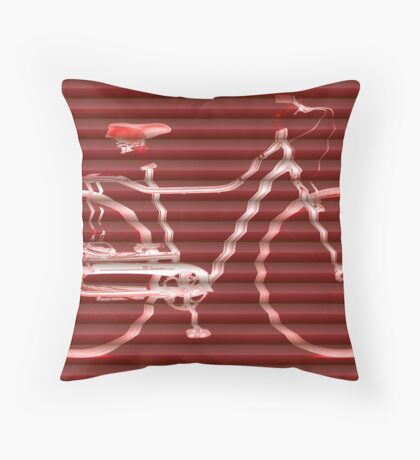 Red Bike Lines Throw Pillow