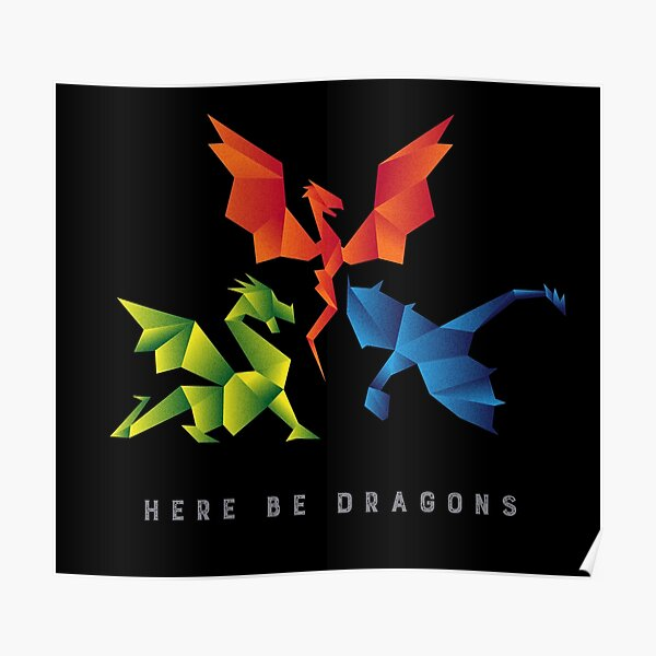 SCP-1762 Where The Dragons Went Origami Style Dragons Poster