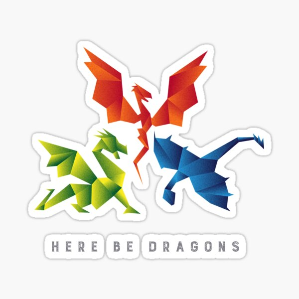 SCP-1762 Where The Dragons Went Origami Style Dragons Sticker