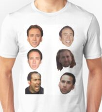 Nicolas Cage Faces Unisex T-Shirt