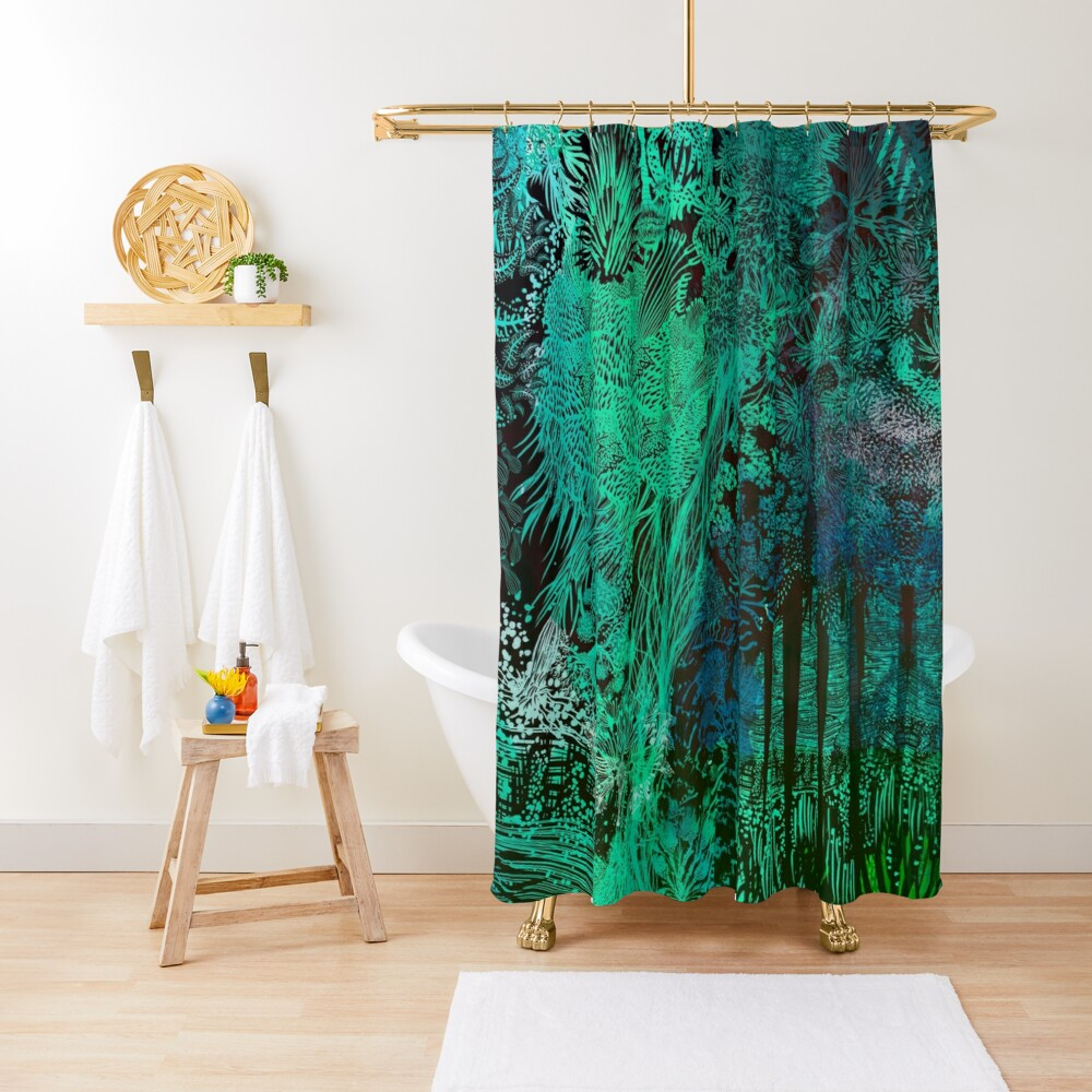 Turquoise Jungle Shower Curtain