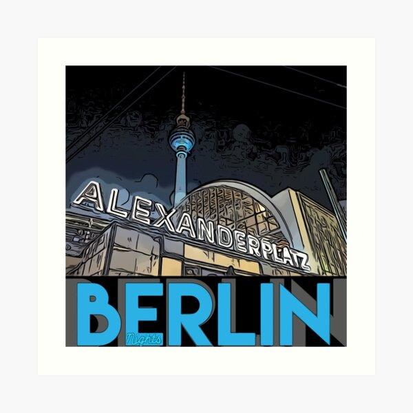 Alexanderplatz - Berlin Nights- black letter block Art Print