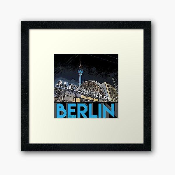 Alexanderplatz - Berlin Nights- black letter block Framed Art Print