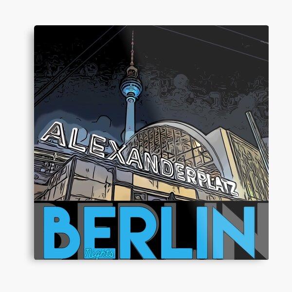 Alexanderplatz - Berlin Nights- black letter block Metal Print