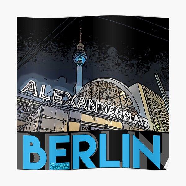 Alexanderplatz - Berlin Nights- black letter block Poster