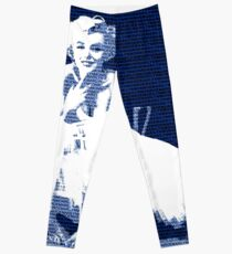 Marilyn Monroe in white dress with blue text Leggings