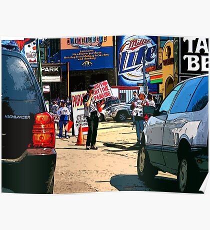 e-z out parking, chicago cubs Poster