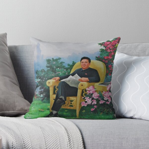 Funny North Korea Kim Jong IL Propaganda      Throw Pillow