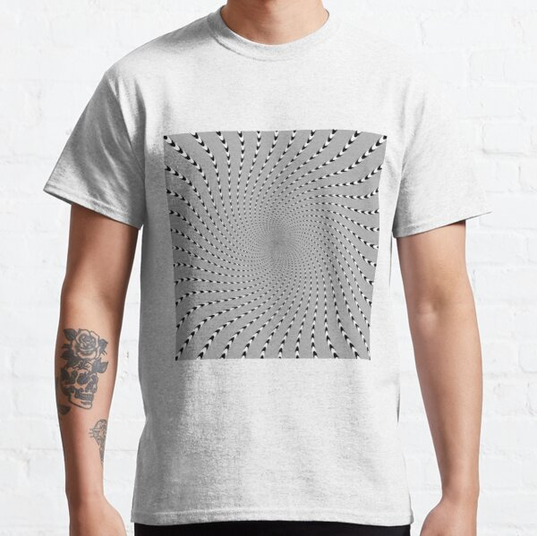 #Abstract, #pattern, #design, #psychedelic, shape, illustration, art, halftone, illusion, futuristic, geometry, vortex, horizontal, gray Classic T-Shirt