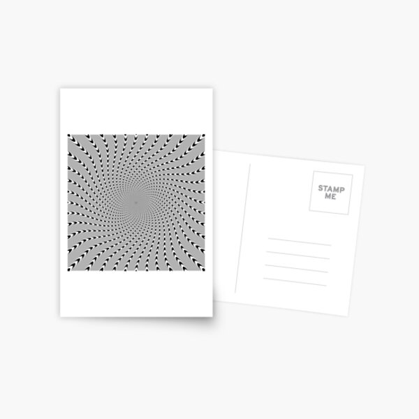 #Abstract, #pattern, #design, #psychedelic, shape, illustration, art, halftone, illusion, futuristic, geometry, vortex, horizontal, gray Postcard