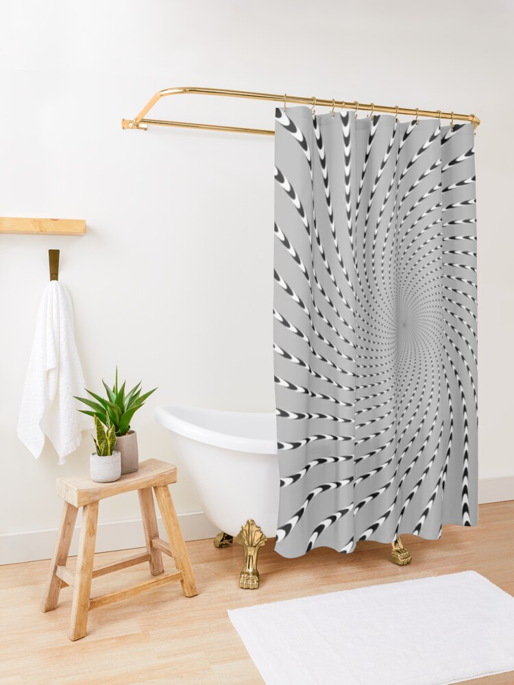 Alternate view of #Abstract, #pattern, #design, #psychedelic, shape, illustration, art, halftone, illusion, futuristic, geometry, vortex, horizontal, gray Shower Curtain