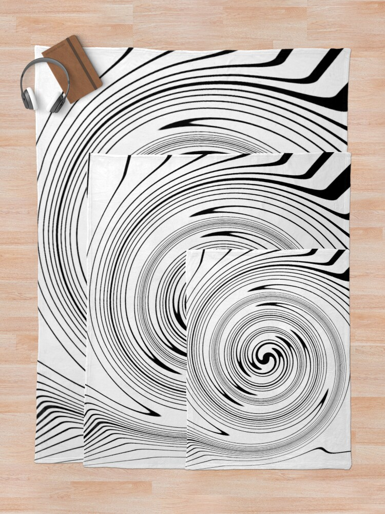 Alternate view of #Vortex, #spiral, #chalk out, #design, target, hypnosis, twirl, abstract, illustration, creativity, pattern, monogram, scribble, illusion Throw Blanket