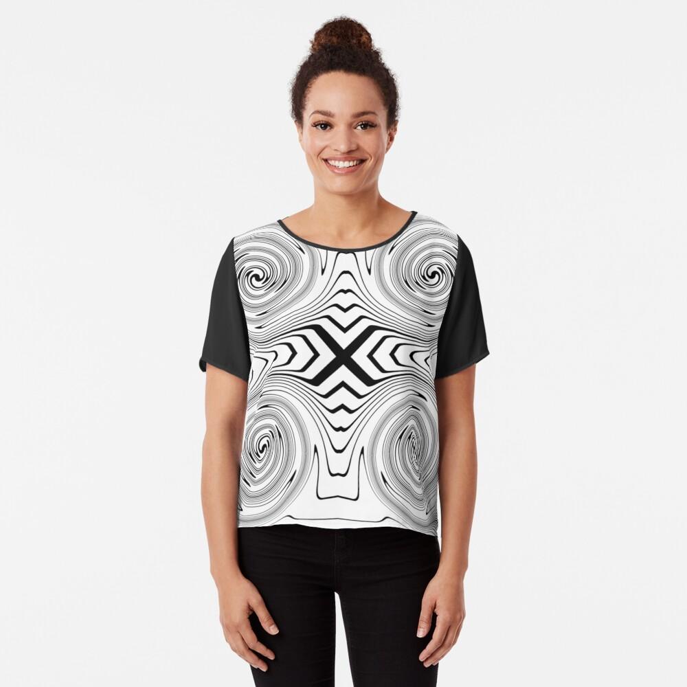 #Abstract, #vortex, #spiral, #illustration, design, shape, target, pattern, hypnosis, twirl Chiffon Top