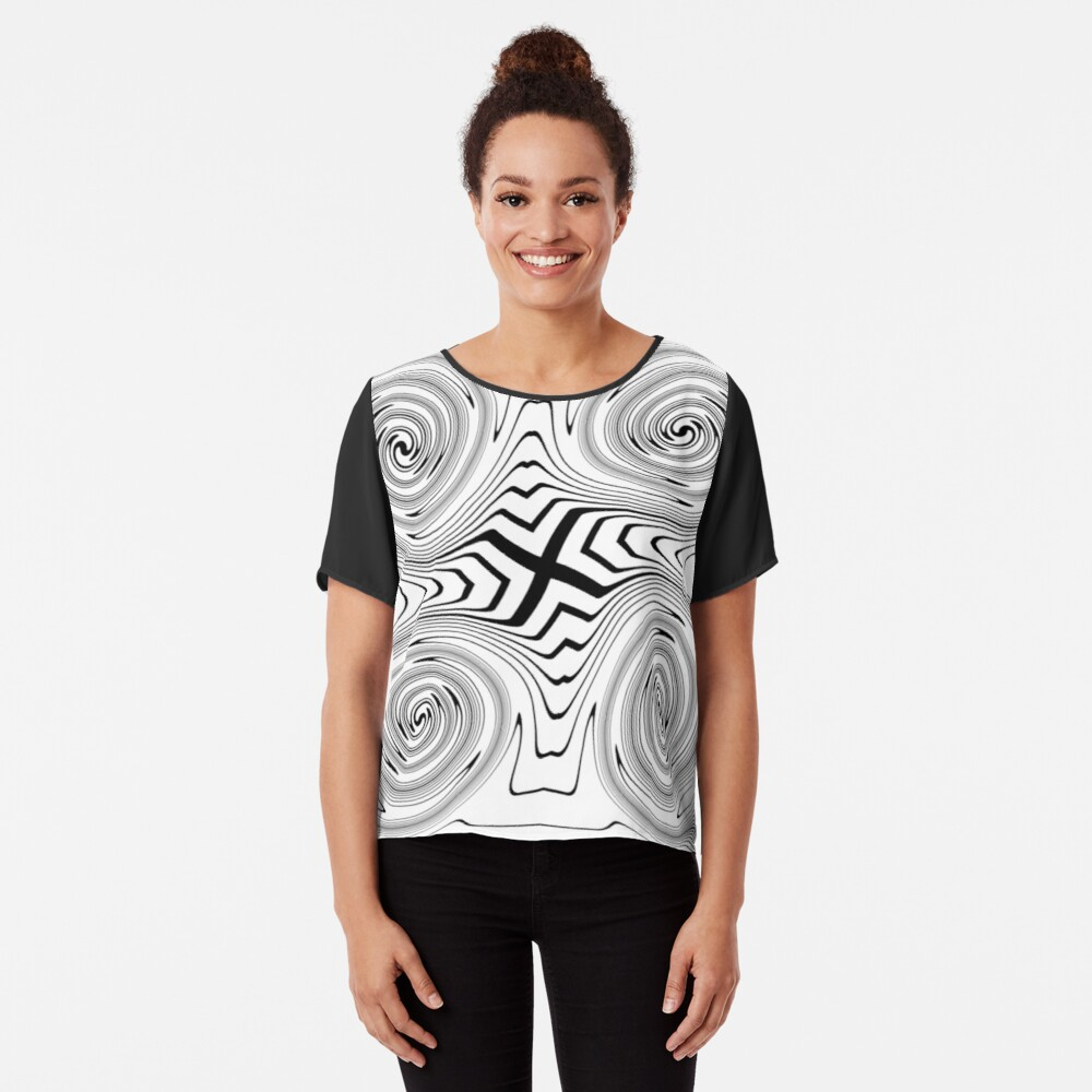 #Vortex, #abstract, #design, #spiral, illustration, shape, pattern, twirl, chalk out, scribble Chiffon Top