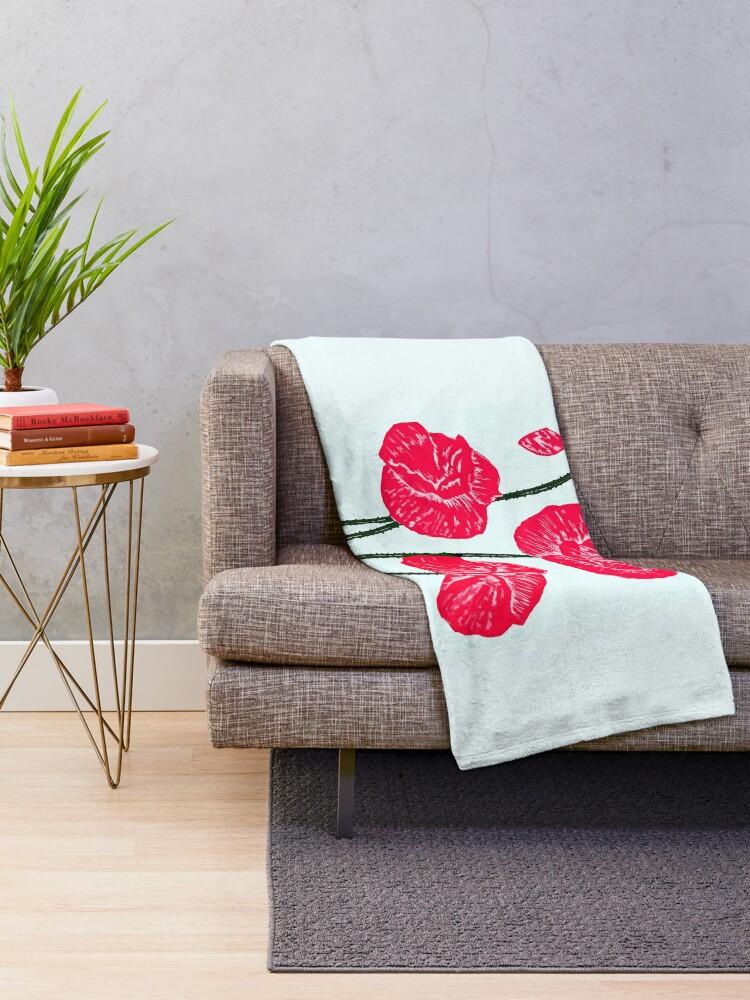 Alternate view of Poppies  Throw Blanket