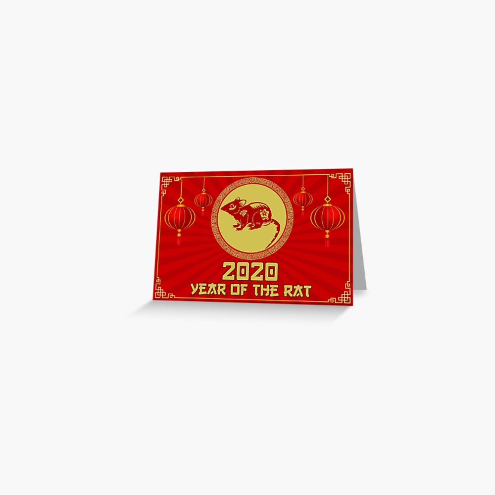 Year Of The Rat Chinese Zodiac New Year 2020 Card Greeting Card