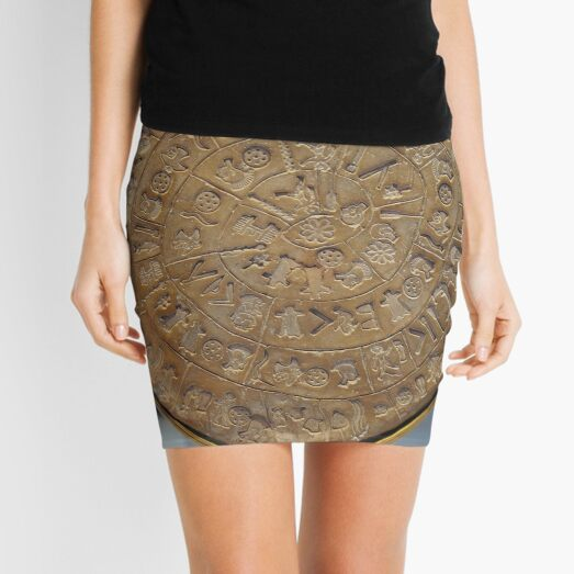 Phaistos Disc #PhaistosDisc #Phaistos #Disc, antique, ancient, wealth, old, copper, currency, brass, art, symbol Mini Skirt