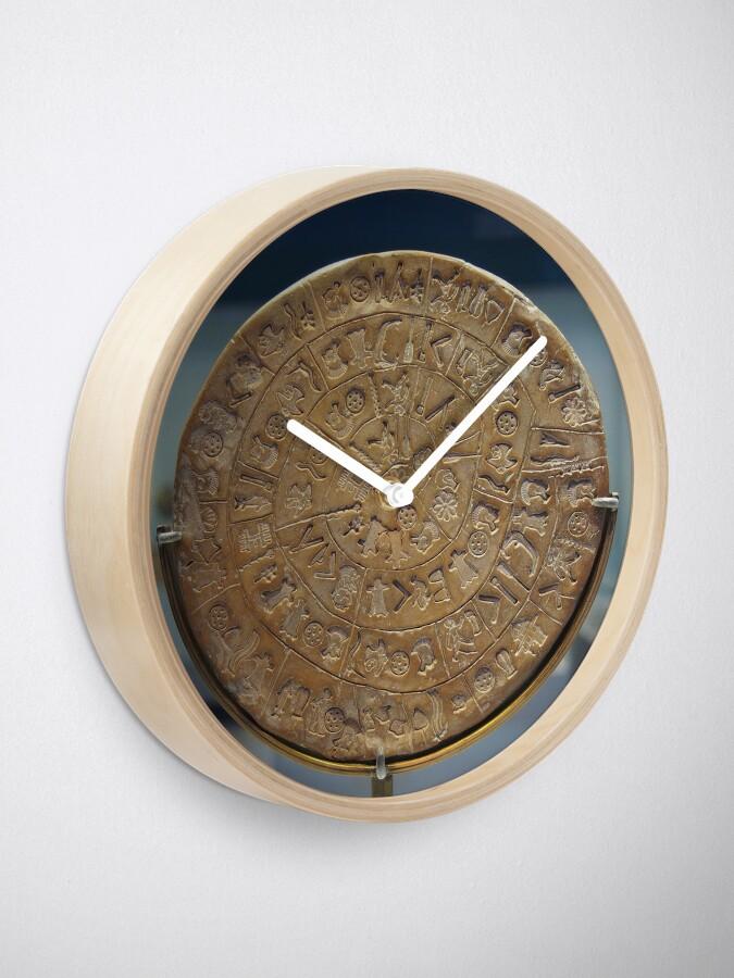 Alternate view of Phaistos Disc #PhaistosDisc #Phaistos #Disc, antique, ancient, wealth, old, copper, currency, brass, art, symbol Clock