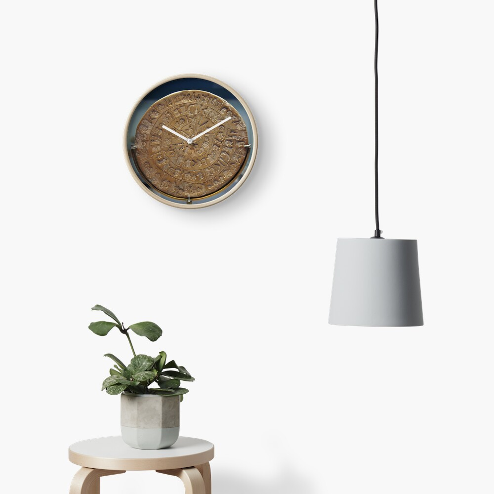 Phaistos Disc #PhaistosDisc #Phaistos #Disc, antique, ancient, wealth, old, copper, currency, brass, art, symbol Clock