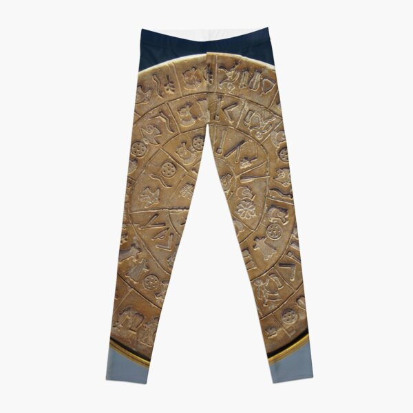 Phaistos Disc #PhaistosDisc #Phaistos #Disc, antique, ancient, wealth, old, copper, currency, brass, art, symbol Leggings
