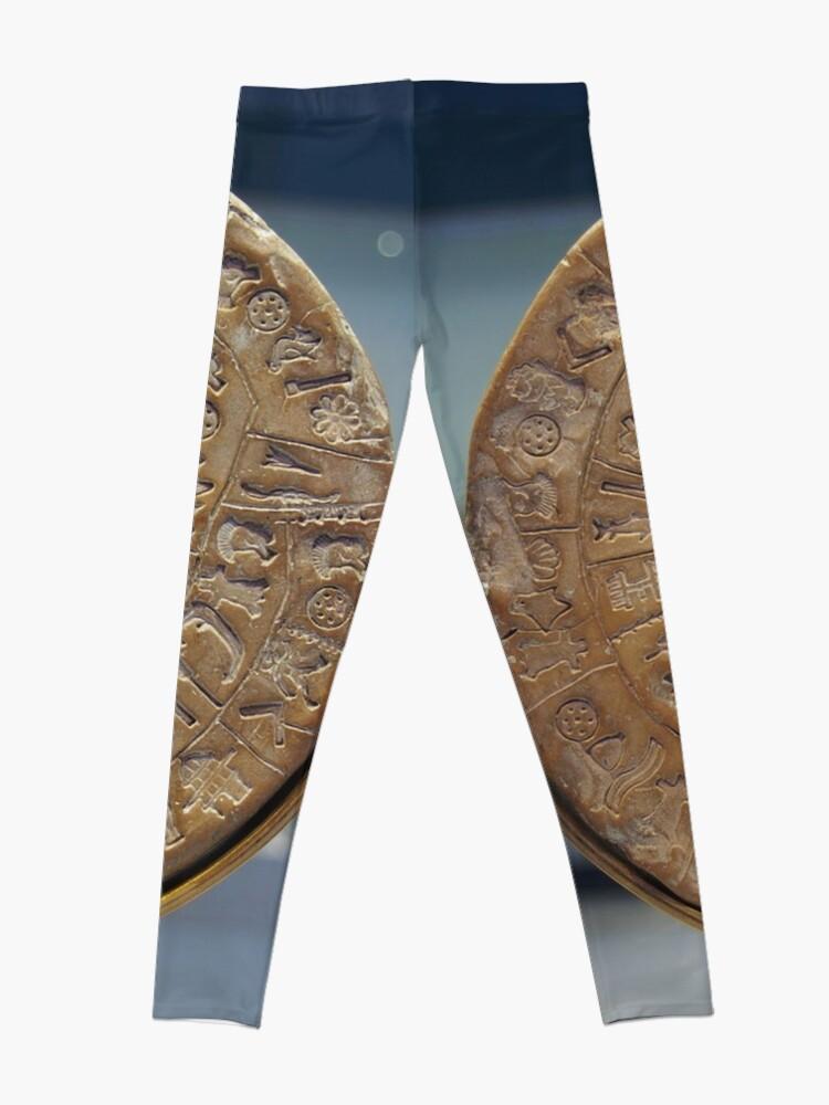 Alternate view of Phaistos Disc #PhaistosDisc #Phaistos #Disc, antique, ancient, wealth, old, copper, currency, brass, art, symbol Leggings